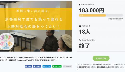 JOY∞JOBシネマのクラウドファンディングが終了しました。